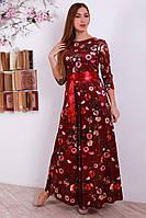 Длинноеплатье с ярким красным поясом