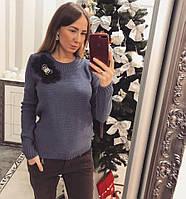 Элегантный женский свитер с украшением , фото 1