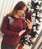 Модный женский свитер с красивым украшением , фото 1