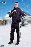Зимний утепленный мужской спортивный костюм батал черный матовый