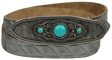 Дизайнерский женский кожаный ремень с закрытой пряжкой, Vanzetti, Германия, 100016 серебро, 3х119 см