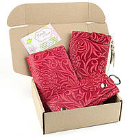 Подарочный набор №17: Кошелек + обложка на паспорт + ключница Амелия , фото 1