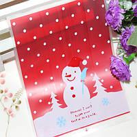 100pcs / lot симпатичное печенье снеговика рождества Сумка