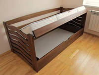 Кровать детская деревянная Колобок из натурального Бука с подъёмным механизмом