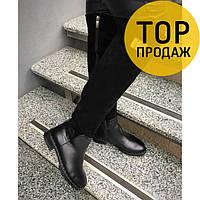 Женские зимние ботфорты на низком каблуке, черного цвета / сапоги высокие женские натуральные, стильные