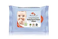 Влажные органические назальные салфетки для младенцев с морской солью, алоэ и ромашкой (24 шт) Mommy Care (952935)