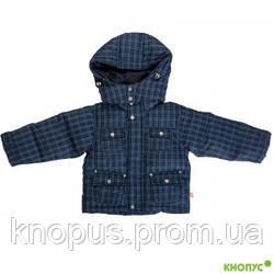 Непромокаемая пуховая куртка  для маленького мальчика синяя клетка, размер 74