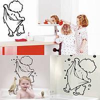 Милый ребенок душ узор наклейка стеклянной дверью ванная комната отделка стен
