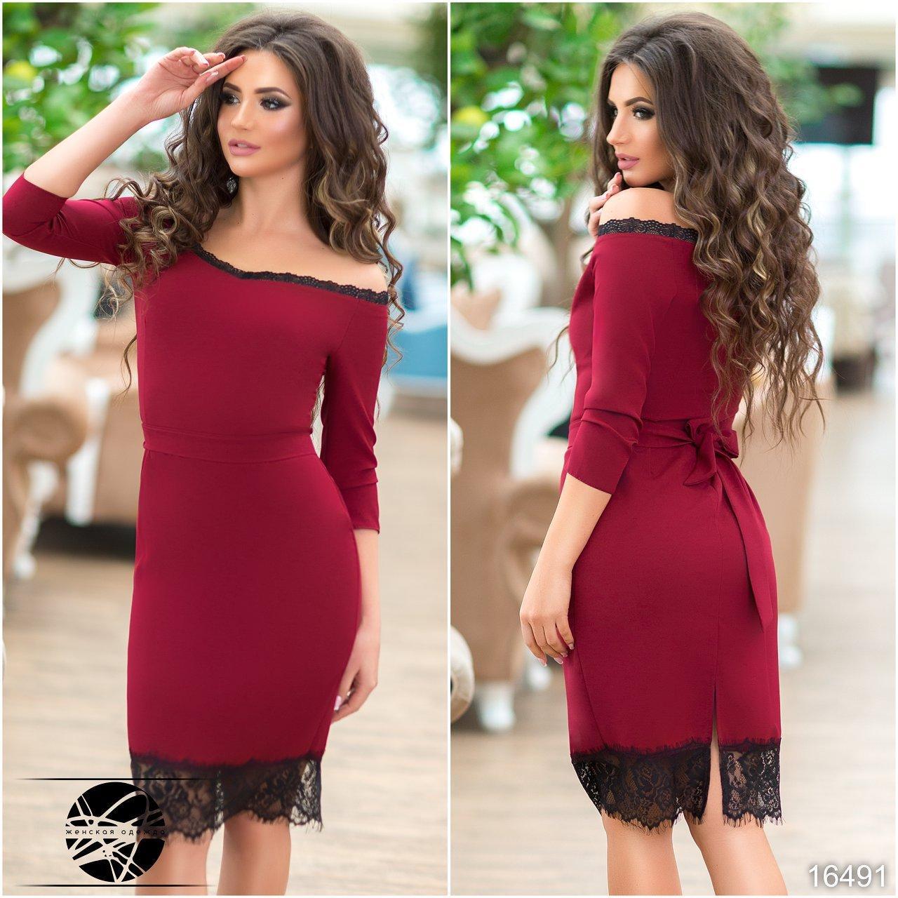 6a41b97a317 Вечернее платье бордового цвета с кружевом. Модель 16491 - Irse в Одессе