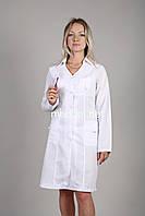 Красивый женский медицинский халат приталенный с длинным рукавом