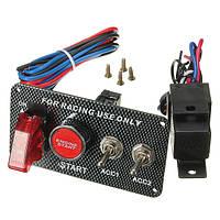 Выключатель зажигания на панели LED тумблер запуска двигателя кнопочный гонки 12В