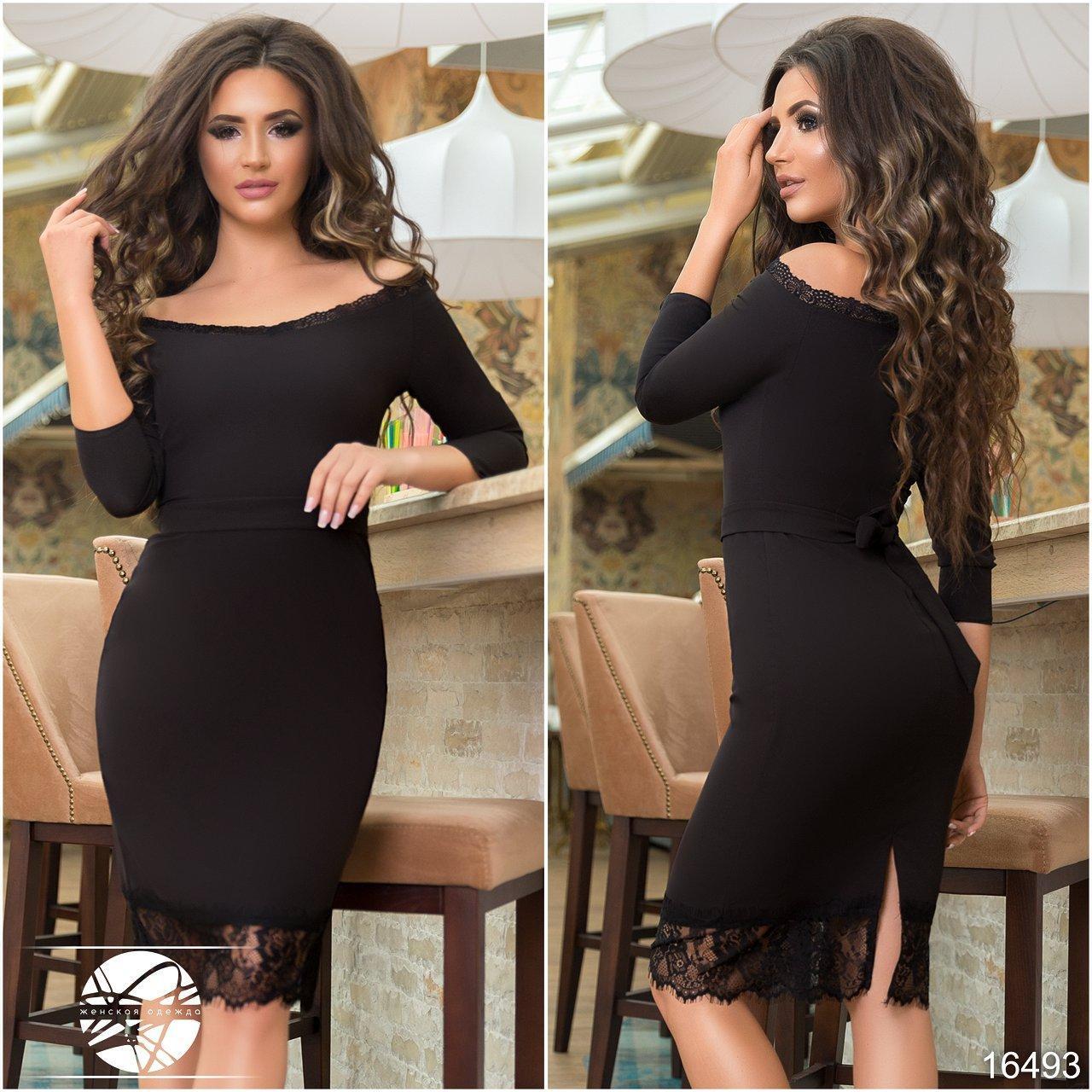 5389310684a Купить Вечернее платье черного цвета с кружевом. Модель 16493 в ...
