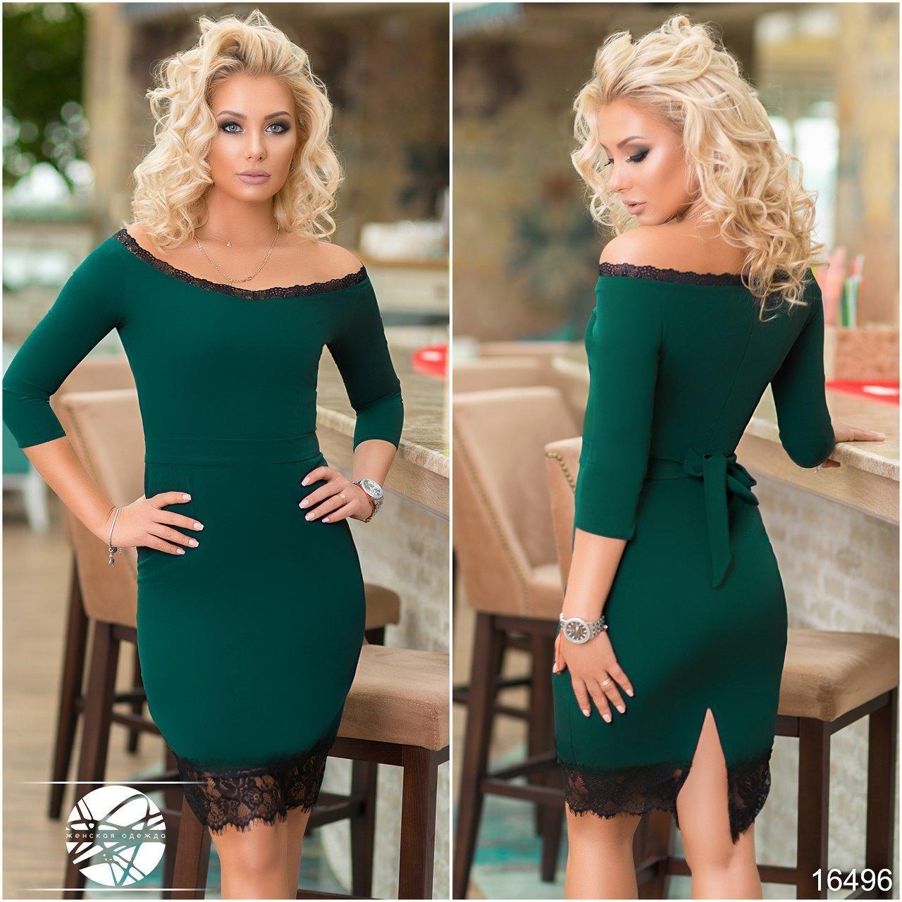 b9db6e110225a5d Купить Вечернее платье зеленого цвета с черным кружевом. Модель ...