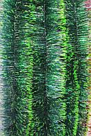 10 см диаметр Мишура дождик Хвоя зеленый с салатовыми кончиками