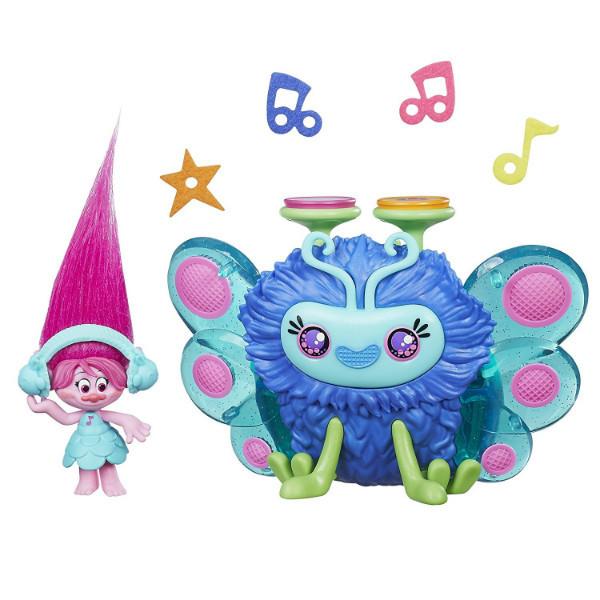 DreamWorks Коллекционная фигурка Тролль Розочка с музыкальным жуком Поппи Trolls Poppy Wooferbug Beats