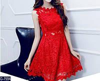 Женское платье красное без рукава