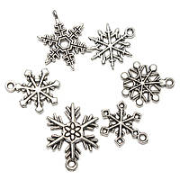 Смешанные подвески Рождество снежинки кулон тибетского серебра домашнего декора