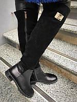 Стильные ботфорты зимние женские на низком ходу комбинированы снизу кожа сверху замша зимняя женская обувь