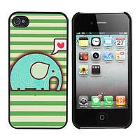 Прекрасный милый мультфильм слон Pattern задняя крышка для iPhone 4 и 4S