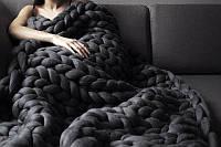 Декоративный Теплый Плед из толстой пряжи из Натуральной Овечьей Расчесанной Шерсти 100x160cm