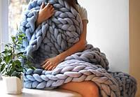 Декоративный Теплый Плед из толстой пряжи из Натуральной Овечьей Расчесанной Шерсти 100x160cm, фото 1