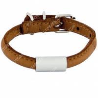 CoLLar SOFT Круглый кожаный ошейник с адресником (коричневый)