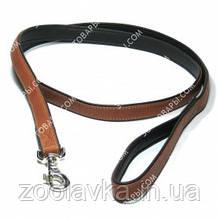 CoLLar SOFT Кожаный поводок для собак без украшений (коричневый) длина 122 см, ширина 25 мм