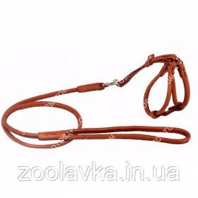 CoLLar SOFT Кругла шкіряна шлея з повідцем для собак і кішок (коричневий) №1