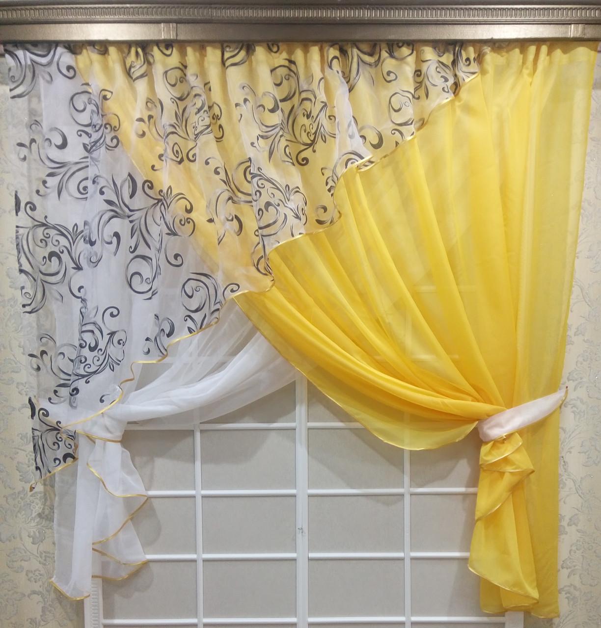 """Кухонные шторы """"Луиза"""" Желтая"""