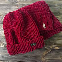 Комплект бордовый велюровый Шапка и шарф ручной работы MoziOne