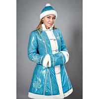 """Карнавальный костюм """"Снегурочка"""" - взрослый парча голубой"""