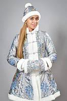 """Карнавальный костюм """"Снегурочка"""" - взрослый парча серебро"""