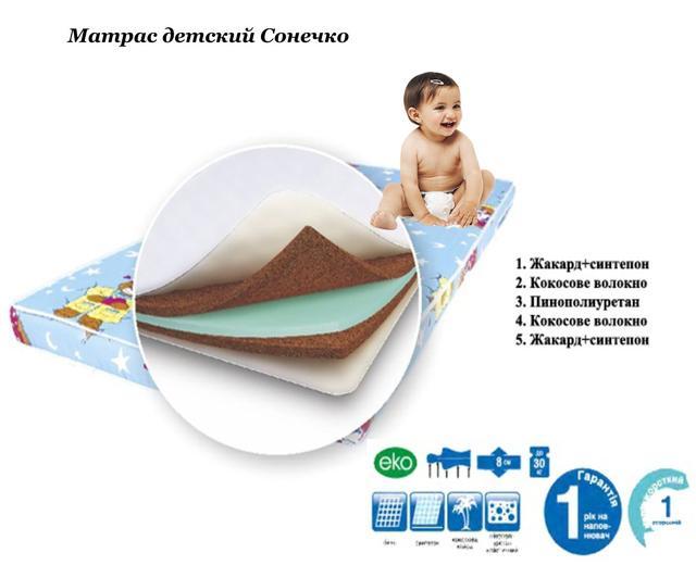 Матрас детский Сонечко (Высота 8 см). Допустимая нагрузка на одно спальное место - 30 кг.