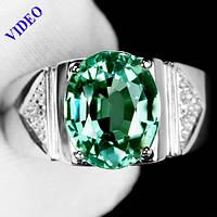 """Потрясающий  перстень """"Печатка"""" с  турмалином параиба и белыми сапфирами, размер 20,4 студия LadyStyle.Biz"""