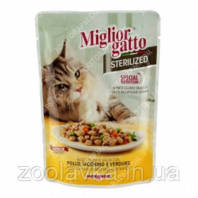 Morando Migliorgatto Sterilized (пауч) Консерви для стерилізованих кішок з куркою, індичкою та овочами