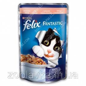 Purina Felix Fantastic Консерви для кішок з лососем в желе 100 гр