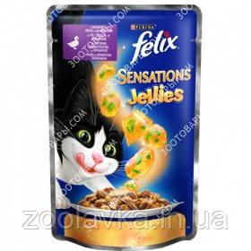 Felix Sensations Jellies 100 гр Кусочки с уткой и шпинатом в желе