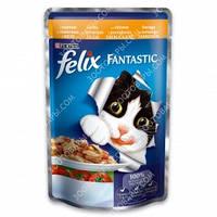Purina Felix Fantastic Консервы для кошек с курицей и томатами в желе 100 гр