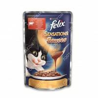 Felix Sensation Sauces Консервы для кошек с говядиной и томатами в соусе