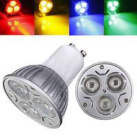 GU10 3W AC 220V 3 светодиодов Красный / Желтый / Синий / Зеленый Светодиодные прожекторные лампы