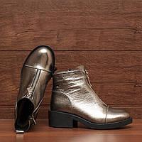 72072| Женские ботинки -зимние на низком каблуке. Серебристые из натуральной кожи 36