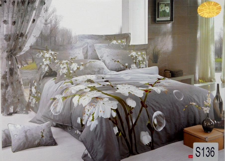 Сатиновое постельное белье евро 3D ELWAY S136