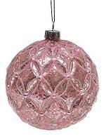 Елочный шар 10см розовый патина, набор 6 шт