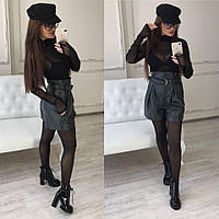 Женские модные шорты-юбка с высокой посадкой (расцветки)
