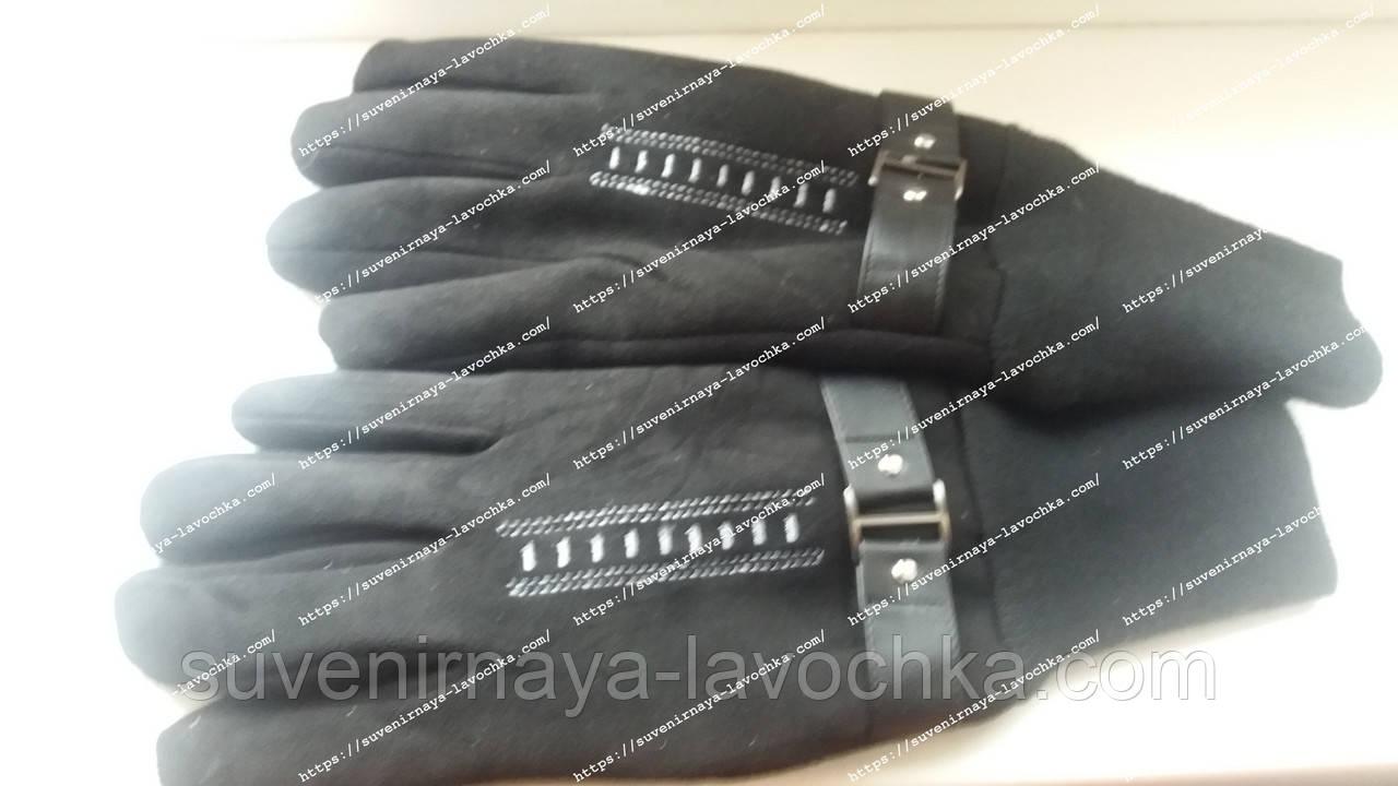 Мужские перчатки комбинированые замш-трикотаж подкладка флис