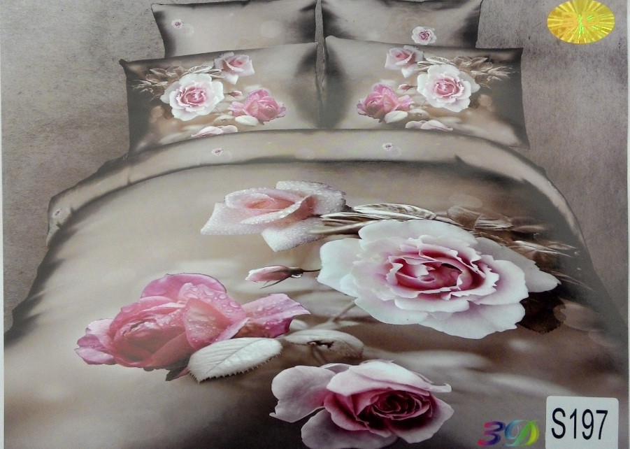 Сатиновое постельное белье евро 3D ELWAY S197
