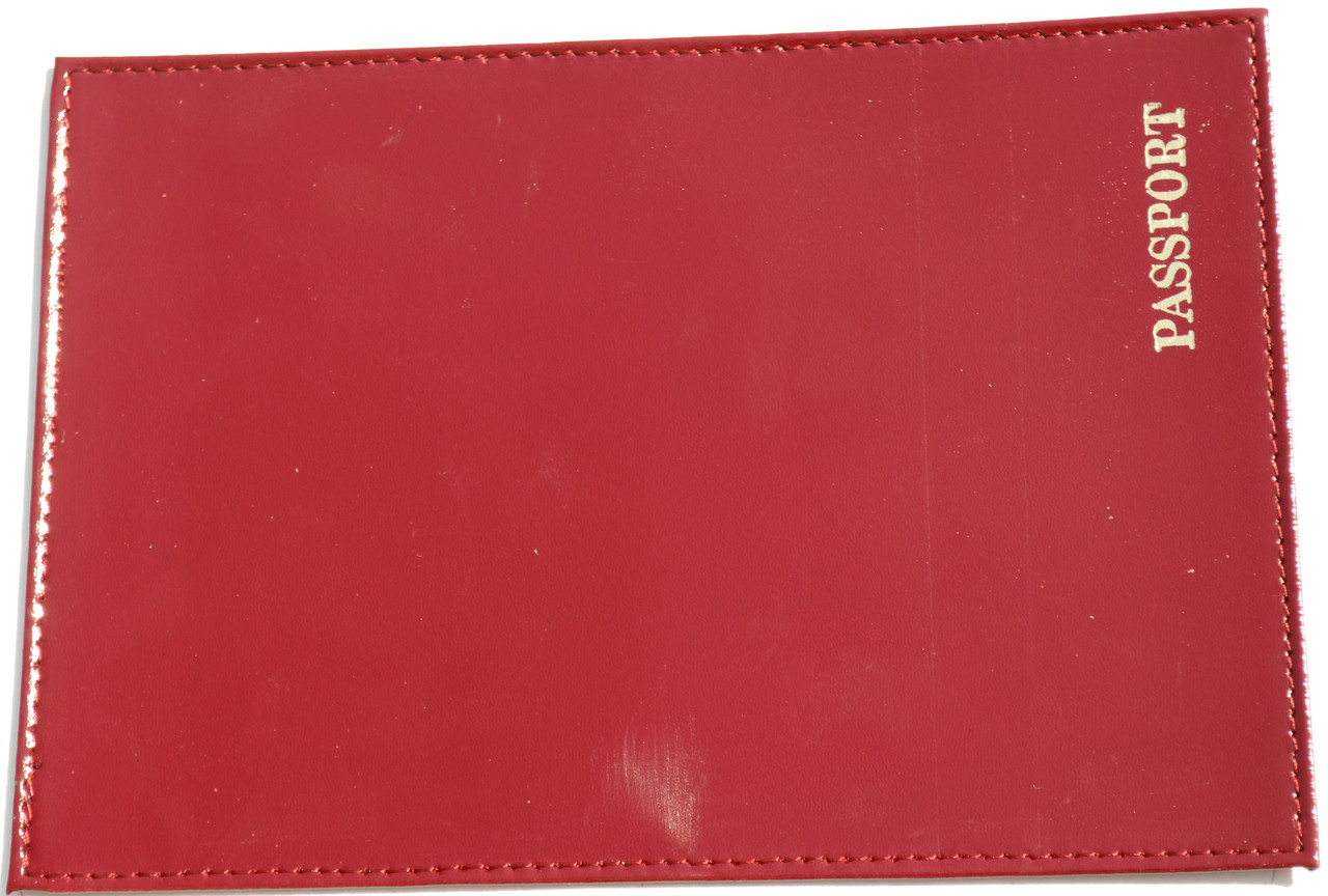 Кожаная обложка на паспорт цвет бордовый