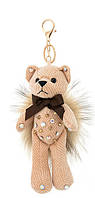 Брелок Текстильный Мишка с натуральным мехом Енота