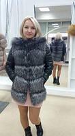 Зимняя куртка из кожи с мехом чернобурки