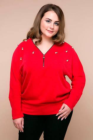 Теплый джемпер больших размеров Эрика красный, фото 2
